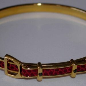 Bangle - Red Leather Hermes Gold Hardware