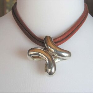 Lima Hermes Silver Pendant and Cord