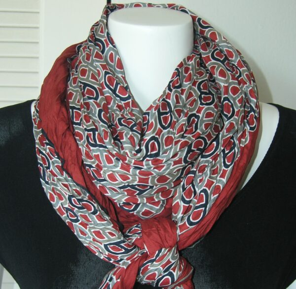Maillons Vagues 140cm Cotton Silk Hermes Crinkled Shawl