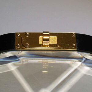 Micro Kelly Hermes Leather Gold-Plated Bracelet