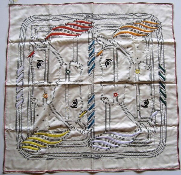Quadrige au Fil 90cm Hermes Embroidered Exceptional Material