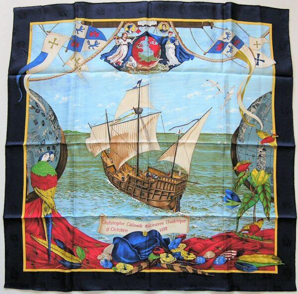 Christophe Colomb decouvre l'Amerique Jacquard Hermes Scarf
