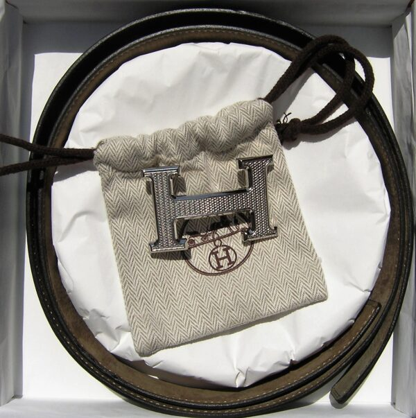 Hermes H Leather Belt and PHW Buckle 100cm
