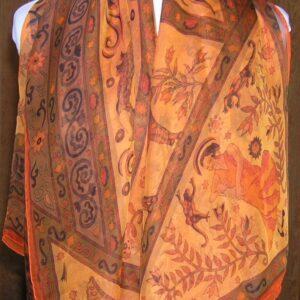 Peuple du Vent 140cm Hermes Mousseline Chiffon Silk Shawl