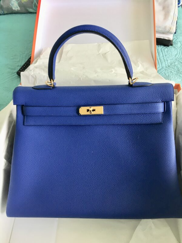Kelly Sac II Retourne 35 Electric Blue Veau Togo Gold Hardware Hermes
