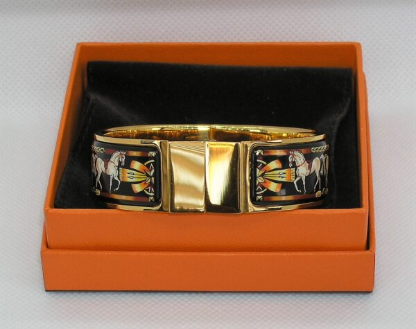 Enamel Bracelet GHW Clasp Horses