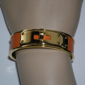 Kelly Cuff GHW Orange Leather