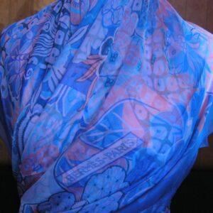 Urashima Taro 140cm Hermes Mousseline Shawl -Blue- 2015 N Hidaka vintage Hermes scarf
