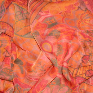 Urashima Taro 140cm Hermes Mousseline Shawl -Orange-Red- 2015 N Hidaka vintage Hermes scarf